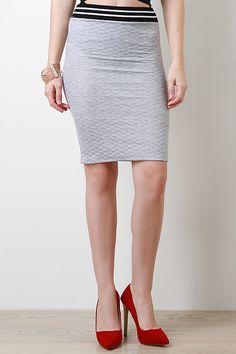 Quilt Knit Midi Skirt - BUDI $20.67