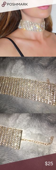 """The eye catcher"" Choker 12 Rows of glitz and glam. Make that outfit pop in every photo with this choker. Popular choker has been worn by celebrities like Rhianna, Ariana Grande, Gigi Hadid, Kylie Jenner, Kim, Khloe, Kourtney and Kendall Jenner. Choker fits all. Brand used for exposure. LF Jewelry Necklaces"