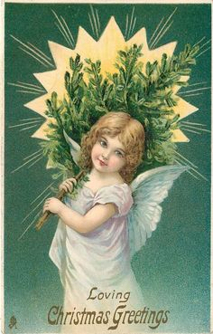 LOVING CHRISTMAS GREETINGS angel carries Xmas tree,facing left, looking front, radiant star behind