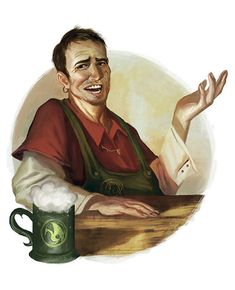 Opius Ferrendor, a greengrocer in Rovonjaku, has funny subjects to discuss with his friends at his favourite inn the Dragon.