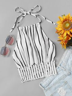 To find out about the Striped Print Frill Hem Halter Top at SHEIN, part of our latest Tank Tops & Camis ready to shop online today! Teen Fashion Outfits, Trendy Outfits, Girl Outfits, Womens Fashion, Cute Summer Outfits, Cute Outfits, Indian Blouse Designs, Mode Rockabilly, Jugend Mode Outfits