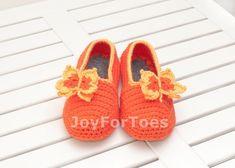 Crochet Slippers Orange Butterfly gift Custom made by JoyForToes, €24.00