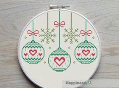 christmas cross stitch pattern christmas baubles  par Happinesst