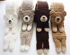 Crochet Stuff Bears Crochet Bear Scarf Pattern - We've put together a collection of Crochet Animal Scarves Free Patterns included. You'll find a video tutorial plus lots of amazing inspiration. Bonnet Crochet, Crochet Diy, Crochet Bear, Crochet For Kids, Crochet Animals, Crochet Crafts, Crochet Dolls, Yarn Crafts, Crochet Projects