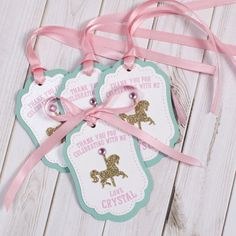 12 Carousel Favor tags PERSONALIZED Thank you tags Merry go