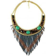 Midras - Green/copper drop bead necklace - Necklaces - Shop