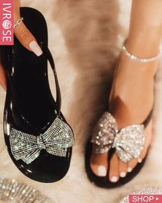 Studded Bowknot Design Open Toe Sandals trendiest dresses for any occasions, special event dresses, accessories and women clothing. Open Toe Sandals, Flat Sandals, Shoes Sandals, Studded Sandals, Flats, Trend Fashion, Fashion Shoes, Style Fashion, Latest Fashion