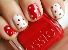 Cute Polka Dot Nails with Red and White Could try every other alternating or an accent nail with reverse colors