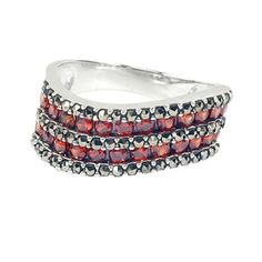 Marcasite  925 Sterling Silver Orangish Red Zircon