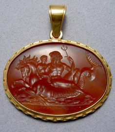 Cupid on Sea Horse. Hand carved on a Red Paste intaglio - Greek Hellenistic Roman jewelry - Jewelry - Themes Cameo Jewelry, Jewelry Art, Jewellery, Ancient Jewelry, Antique Jewelry, Ancient Greek Art, Roman Jewelry, Minerals And Gemstones, Coin Pendant