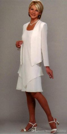2015 New Style Summer Clothing Set White Mother Of The Bride Long Jacket Chiffon Mother Dresses Knee Length Custom Made Groom Mother Dress