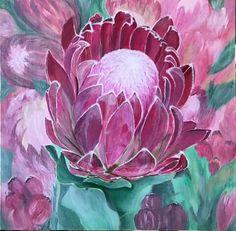 Protea Art, Protea Flower, King Protea, Clay Paint, Flower Paintings, Art Floral, Art Drawings Sketches, Scrapbook Albums, Portrait Art