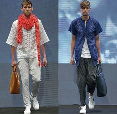 2OR+BYYAT Helsinki Finland 2015 Spring Summer Mens Runway Catwalk Looks - Copenhagen Fashion Week Denmark - Grunge Paint Smudges Moto Motorcycle Biker Rider Sneakers Scarf Houndstooth Sawtooth Bomber Jacket Multi-Panel Jogging Sweatpants Tote Bag Lace Blazer Shorts Threads Fringes Weave Loose Threads