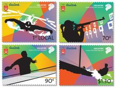 Rio 2016 Olympic Stamps Singapore  Singapore Post issued a set of commemorative stamps in celebration of the Rio 2016 Summer Olympic Games.  The set comprises four designs, each featuring a silhouette of an athlete in the sport of swimming, shooting, table tennis and sailing.