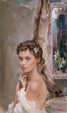 """Michael & Inessa Garmash, """"Ready to Blossom"""".  The title kind of creeps me out, even though I'm sure it shouldn't, but the painting and girl are beautiful.  She looks Russian to me--but I'm by no means an expert."""