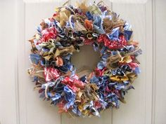 Fabric Wreath Rag Wreath Blue Jeans Denim Burlap by AWorkofHeartSA