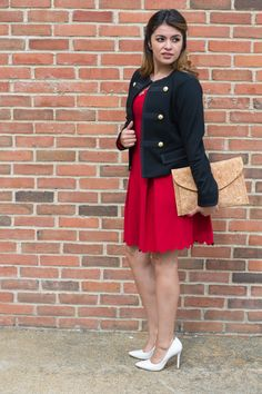 Timeless Optimist blog | red dress + clutch and military jackets for a date night look