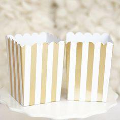 10 Gold and White Stripes Popcorn Favor Boxes Bridal Baby Shower to Pop Gold Foil DIY Craft Storage Supplies Baby Shower Favors, Baby Shower Parties, Baby Shower Decorations, Popcorn Favors, Popcorn Boxes, Carnival Themed Party, Themed Parties, Carnival Wedding, Carnival Baby Showers