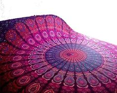 Indian Purple Hippie Peacock Mandala Bohemian Psychedelic Handmade Tapestry - Bless International - Tapestries & Handicraft Exporter & Retailer - 3
