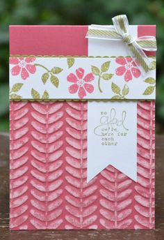 handmade card ... Bloomin' Vine embossing folder ... luv the weathered look coming from sanding on texture on coordinations paper ... clean and simple design ... pink ... Stampin' Up!