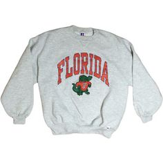 Florida Gators Sweatshirt UF Crewneck Pullover Sweatshirt Grey Orange and Blue College Football Russell Athletic Size Xl Sweatshirt Outfit, Grey Sweatshirt, Graphic Sweatshirt, Crewneck Sweaters, Florida Gators, Crew Neck Shirt, Pullover, Grey Shirt, Russell Athletic
