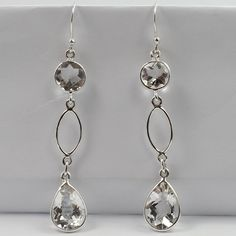Real CRYSTAL QUARTZ Checker Gemstones 925 Sterling Silver Lovely Dangle Earrings #SunriseJewellers #DropDangle