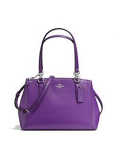 Created in Crossgrain leather Inside zip, cell phone and multifunction pockets Zip-top closure, fabric lining Handle with drop Strap with drop for shoulder or crossbody wear 12 (L) x 8 (H) x 4 (W) Color: Purple Style# 36637 Purple Handbags, Purple Purse, Purple Bags, Purses And Handbags, Coach Bags Outlet, Hello Kitty Purse, Beautiful Handbags, Cute Purses, Luxury Handbags