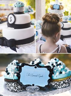 Breakfast at Tiffany's Themed Party.  The little girl may be too young to get it but still an adorable party idea. Well. IM not too young. I'm throwing this for myself. Watch me.