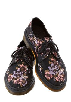Through the Grape Vinyl Flat by Dr. Martens - Low, Woven, Black, Multi, Floral, Best, Lace Up, Vintage Inspired, 90s, Statement