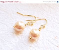 Pearl Earrings Gold Tone Bridesmaid Gifts Wire by petiteVanilla, $9.00