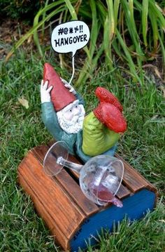 GNOMES GONE BAD- Hungover Garden Gnome. Funny Upcycled Statue. $45.00, via Etsy.
