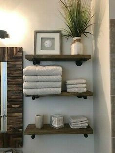 bathroom shelves One Deep Industrial Floating Shelf, Rustic Shelf, Pipe Shelf. The stain used will give it that quot; look that is so popular now. I will customize and make the shelves as long or as short as you need them to fit your space. Rustic Shelves, Shelves, Restroom Decor, Diy Home Decor, Small Bathroom Decor, Home Decor, Bathrooms Remodel, Bathroom Design, Bathroom Decor