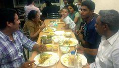 Sando family enjoying the authentic Hyderabadi biryani at The Golconda Bowl Express, Noida