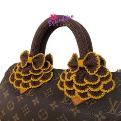 15d0a48543b8 Dark brown handmade crochet bag handle cover protector for Louis Vuitton LV  Speedy 25-30-35