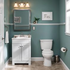 For a traditional look with a touch of the countryside, invest in this charming white Ellenbee vanity. A light fixture with etched glass shades casts a soft glow, while a stainless steel faucet and easy-care vinyl tile add simple style. Click the link in profile for product details! #lowes #bathroom #renovation