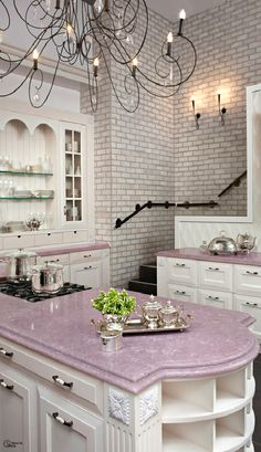 The counter top has prominent positioning within the kitchen allowing for just the right amount of color enhancement.Love the violet color