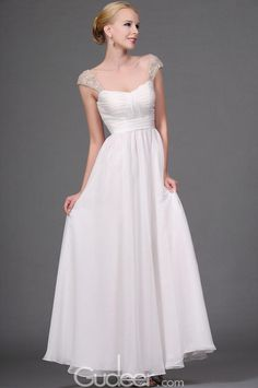 lace embroidered pleated long chiffon prom dress
