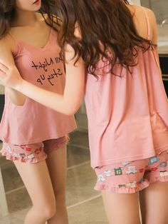 Shop Letter Print Cami & Frill Trim Shorts PJ Set at ROMWE, discover more fashion styles online. Beautiful Girl Facebook, Cute Sleepwear, Lingerie Sleepwear, Avengers Girl, New Fashion, Fashion Outfits, Night Suit, Cute Pajamas, Korean Fashion Trends