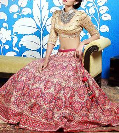 #Pink & #Gold Dori Embroidered #Silk #Lehenga #Set With Gota Patti by #Anita #Dongre
