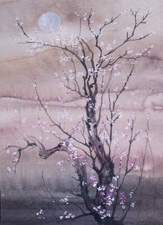 #Cherry #Blossoms In #Spring #watercplor #painting #annachmil #japan #art  #abstract #landscape  #watercolor #painting #anna_chmiel #malarstwo #krakow
