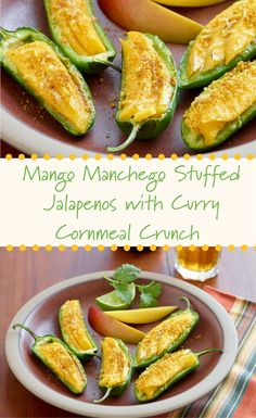 Mango Manchego Stuffed Jalapenos with Curry Cornmeal Crunch Manchego Cheese, Mango Recipes, Curry Powder, Stuffed Jalapeno Peppers, Food Dishes, Olive Oil, Zucchini, Smoothies, Cooking Recipes