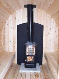 Inside barrel sauna