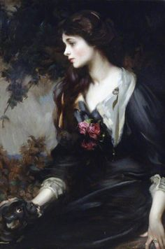 Lady Marjorie Manners (1883–1946), Later Marchioness of Anglesey, Aged 17 by James Jebusa Shannon 1900 This is an almost sentimental portrait of Lady Manners, daughter of the 8th Duke of Rutland and Lady Violet Lindsay, aged 17. It is an intimate and innocent portrayal of a young girl on the eve of womanhood, stroking her pug dog.