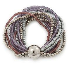 Hebras de vidrio y bolas de plástico flexible De Pulsera Con Una Pelota (plata / Lavanda / in Jewellery & Watches, Costume Jewellery, Bracelets | eBay