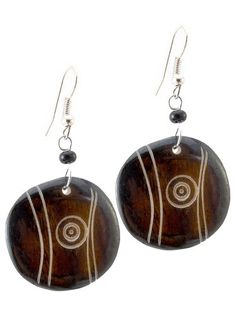 "African Circles w/dots Up cycled Camel Batiked Bone Earrings-(Brown)-Womens.  Handmade in Africa, hangs 1.75"" long.  NOTE: No animals were harmed in the making of this product.  Great unique gift!  Please review shipping charges and details."