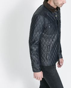 Image 2 of QUILTED JACKET WITH CORDUROY COLLAR from Zara