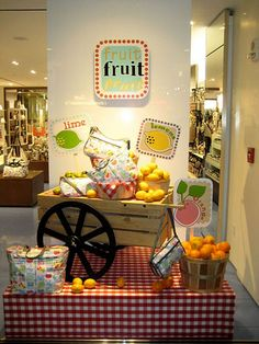 Fresh and simple summer display idea! Use realistic fake fruit to make it last all summer! http://www.melroseintl.com/c-2-fruits-vegetables.aspx