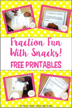 Multiplying and Dividing Fractions: Fraction Fun with Snacks! {Freebies} - Teaching to Inspire with Jennifer Findley Dividing Fractions, Teaching Fractions, Fractions Worksheets, Math Fractions, Teaching Math, Teaching Ideas, Equivalent Fractions, Multiplication, Art Worksheets