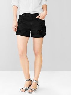 $34, Gap 1969 Destroyed Sexy Boyfriend Denim Shorts. Sold by Gap. Click for more info: https://lookastic.com/women/shop_items/176123/redirect