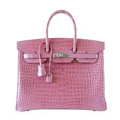 HERMES BIRKIN 35 bag Rose Indienne porosus crocodile palladium VERY RARE   From mightychic at mightychic.com and at https://www.1stdibs.com/fashion/handbags-purses-bags/top-handle-bags/
